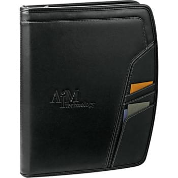"Precision Zippered Padfolio - Zippered closure. Front pocket. 3 front cover business card holders. Interior includes 2.25"" x 4.25"" solar calculator, documents pocket,  4 pen holders, ID window, 3 business card holders, mesh cell phone holder, and 4 USB memory drive holders. Includes 8.5"" x 11"" writing pad."