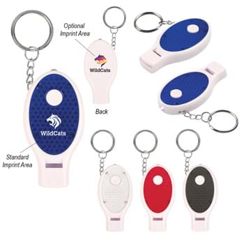 Whistle Key Chain With Light - Extra Bright White LED Light | Safety Whistle | Split Ring Attachment | Push Button To Turn On Light | Button Cell Batteries Included