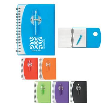 Spiral Notebook With Shorty Pen - 80 Page Lined Notebook | Matching Shorty Pen With Flip Clip
