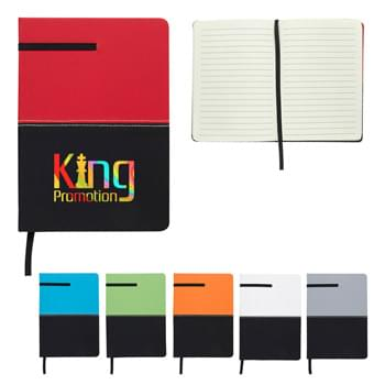 "5"" x 7"" Two-Tone Leatherette Journal - CLOSEOUT! Please call to confirm inventory available prior to placing your order!<br />Smooth Matte Finish 