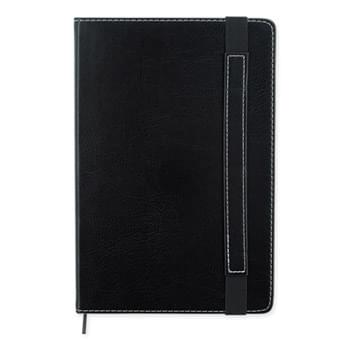 Charlotte Journal Notebook - 80 Page Lined Notebook | Smooth Leatherette Finish | Black Bookmark And Matching Strap Closure | Inside Back Accordion Pocket