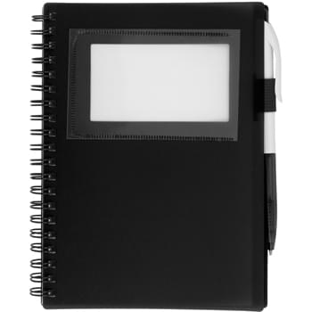 Spiral Notebook With ID Window - 70 Page Lined Notebook | Matching Pen In Elastic Pen Loop