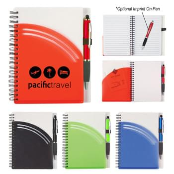 "5"" x 7"" Rainbow Spiral Notebook With Pen - 80 Page Lined Notebook 
