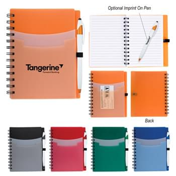 "5"" x 7"" Tri-Pocket Notebook & Pen - 70 Page Lined Notebook 