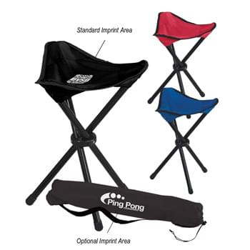 Folding Tripod Stool With Carrying Bag - Made Of 600D Nylon | 210D Nylon Carrying Bag With Shoulder Strap And Drawstring Closure | Steel Tubular Frame - Weight Limit 250 lbs.