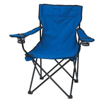 Folding Chair With Carrying Bag - Made Of 600D Nylon | 2 Mesh Cup Holders | 600D Nylon Carrying Bag With Shoulder Strap And Drawstring Closure | Steel Tubular Frame - Weight Limit 300 lbs.