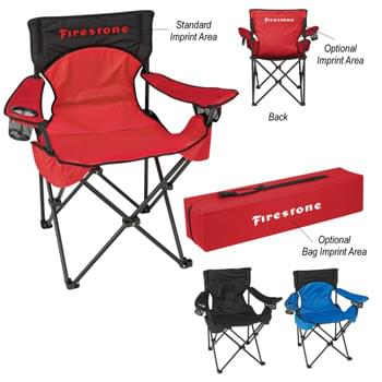Deluxe Padded Folding Chair With Carrying Bag - Made Of 600D Nylon | Wide Padded Seat And Back | Large Zippered Back Pocket | 600D Polyester Carrying Bag With Adjustable Shoulder Strap And Zippered Closure | Steel Tubular Frame - Weight Limit 300 lbs.