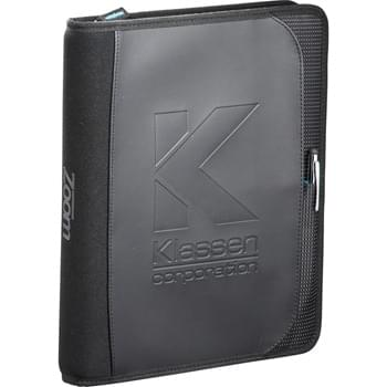 "Zoom 2-in-1 Tech Sleeve JournalBook - The Zoom JournalBook provides all of the essentials for the technology driven person on the move.  Zippered closure.  Removable sleeve for all iPad models. Includes snap closure and wrist or trolley strap.  The journal's organizational features include four business card pockets, two pen, stylus or USB slots, a gusseted document pocket and an iPhone or cell phone pocket.  Front cover features a document pocket a stylus or pen pocket.  Includes 7.5"" x 9.5"" Zoom 50 page removable spiral bound journal with imp"