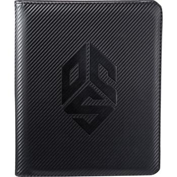 "Carbon Fiber Tech Padfolio - Sleek automotive inspired cover material.  Zippered closure.  Scratch-proof lined pocket secures and protects an iPad and most other tablets, e-readers and ultrabooks.  Organizational panel features a phone holder, business card pockets and pen loops.  Document pocket.  Includes 8.5"" x 11"" writing pad."