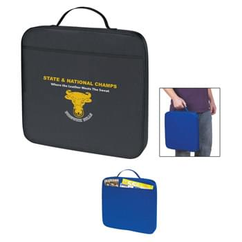 Stadium Cushion - Made Of Soft, Resilient PE Polyfoam Cushion Covered By 70D Polyester | Front Pocket | Web Carrying Handle