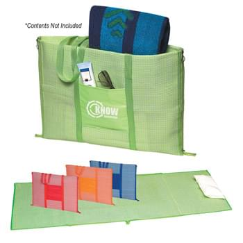 "Beach Buddy Mat - 23"" W x 67"" L Beach Mat With Inflatable Pillow 