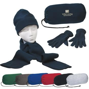Keep Warm Buddy Set - Brushed Polyester Fleece | Scarf, Gloves And Cap In A Drawstring Bag