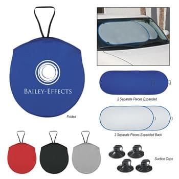 Collapsible Automobile Sun Shade - Made of Nylon, Silver Coated Material | Two Separate Panels, Each With Elastic Strap For Secure Storage | Matching Pouch | Four Rubber Suction Cups To Help Hold In Place | Hand Wash Recommended