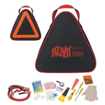 Auto Safety€ˆKit - Includes: Jumper Cables, Gloves, Tire Gauge, Ice Scraper, Flat Head/Phillips Head Screwdrivers, First Aid Kit, Poncho, SOS Banner, Flashlight And Emergency Cone | Reflective Tape On Backside | 2 AA Batteries Included