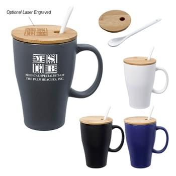 12 Oz. Spooner Mug With Bamboo Lid - Removable Spoon  | Meets FDA Requirements   | Hand Wash Recommended