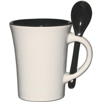 10 Oz. Blanco Spooner Mug - Removable Matching Spoon | Meets FDA Requirements | Hand Wash Recommended