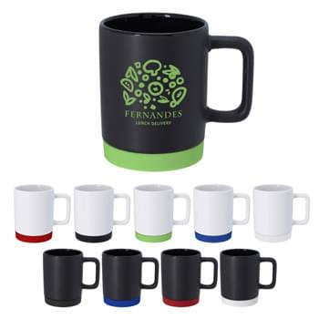 10 Oz. Coast Ceramic Mug - Soft Touch Base Acts As A Coaster  | Meets FDA Requirements   | Hand Wash Recommended