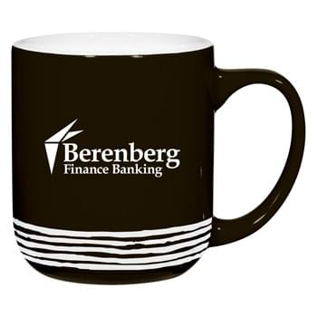 15 Oz. Montana Stoneware Mug - CLOSEOUT! Please call to confirm inventory available prior to placing your order!<br />Bistro Style Wide Body Mug | Big Bistro Handle For Comfortable Sipping | Unique Distressed Stripes | Meets FDA Requirements | Hand Wash Recommended | Not Recommended for Commercial Use