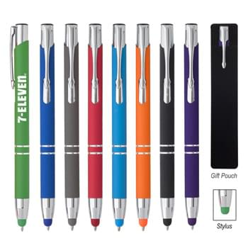 Dash Stylus Pen - Plunger Action    | Rubberized Aluminum Pen  | Push Down To Use Pen And Retract To Use Stylus