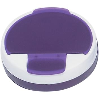 Round Pill Holder - 4 Separate Compartments | Meets FDA Requirements | Rotating Top With Large And Small Snap Lids