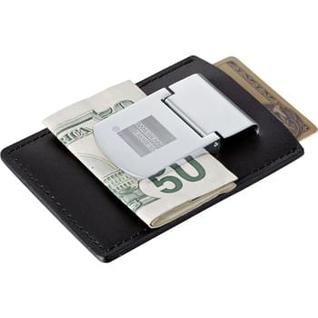 Zippo® Spring Loaded Leather Money Clip - Polished metal clip holds loose bills. Pocket holds cards and notes.