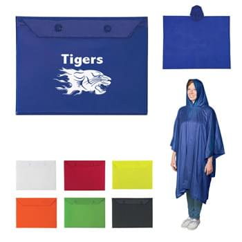 Adult Poncho - PVC Poncho And Plastic Snap Pouch | One Size Fits All | Great For Outdoor Events
