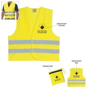 Reflective Safety Vest - One Size Fits Most | Zippered Pouch