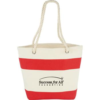 "Capri Stripes Cotton Shopper Tote - Show your stripes with this sturdy nautical tote; perfect for the beach or getting around on the weekend. Open main compartment. Soft cotton rope handles and graphic silk screen print make this tote stand out. 10"" handle drop height."