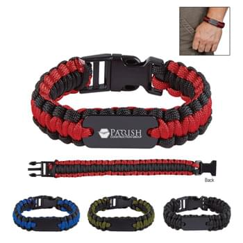 Paracord Survival Bracelet With Metal Plate - Zinc Alloy Tag | Buckle Closure