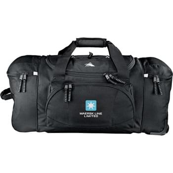 "High Sierra® 26"" Wheeled Duffel - Large main compartment with U-shaped zippered opening. Zippered front accessory pocket. Two top-loading end compartments. Inline skate wheels with corner protectors. Extendable, locking telescoping handle."