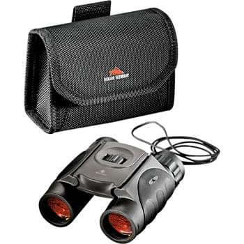 High Sierra® Tahoe Binoculars - Ideal for sporting and outdoor events such as hiking, camping and hunting.  Waterproof ruby lenses enhance presentation.  Field of view:  315 feet at 1,093 yards.  10x25mm (power x object diameter).  Includes a High Sierra® travel sport pouch.