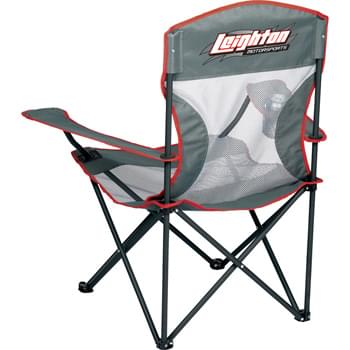 High Sierra® Camping Chair - Lightweight style is durable and sporty. Breathable mesh fabric will dry fast in the event of an unexpected rainfall. Each Armrest has an integrated cup holder. Folds into a High Sierra® carrying case with shoulder strap.