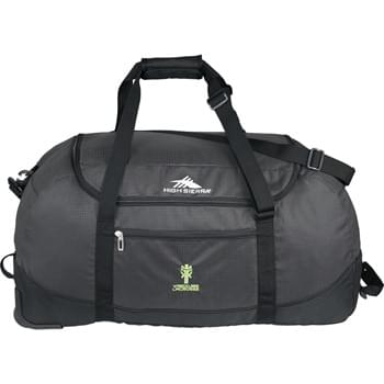 "High Sierra® Packable 30"" Wheel-N-Go Duffel - Versatile, lightweight wheeled duffel that rolls up and packs into its own drawstring pouch. It's two bags in one! Use it as a regular wheeled duffel or wear it like a backpack. Large main compartment with zippered opening. Handle straps convert into convenient backpack straps. Easy-access pocket keeps essentials close at hand. Duffel stows away into its own useful drawstring sack. Comfortable padded handle wrap. Adjustable/detachable shoulder strap."