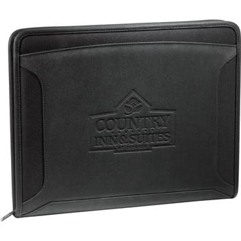 "Case Logic® Conversion Zippered Tech Padfolio - Zippered closure. Front cover pocket. Secure media panel holds all iPad models including the iPad Air, iPad Mini, and most other e-readers and tablets. Stylus holder on media panel. Organizational panel features a USB port, five business card holders and three pen loops. Velcro® closure document holder.  Includes 8.5"" x 11"" writing pad. Second location for writing pad on the media panel.  Included information card lists the many functions of the padfolio."