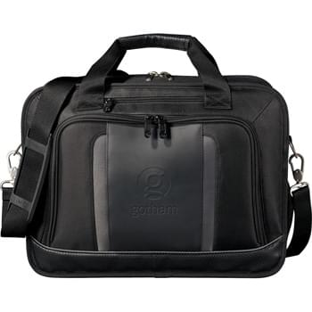 "Velocity Compu-Brief - Zippered main compartment features velcro closure laptop sleeve, and mesh pouch. Holds most laptops up to 17"". Zippered front pocket with organizer, mesh pouch and key fob. Zippered front media pocket and rear compartment with file divider. Open back velcro closure panel pocket. Trolley handle attachment. Side mesh water bottle pocket. Zippered, side quick-access pocket. Perforated UltraHyde handles and bottom panel. Detachable, adjustable shoulder strap."