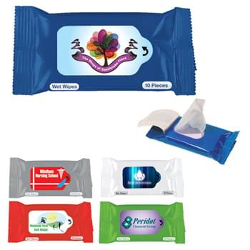 Wet Wipe Packet - Contains 10 Wipes | Meets FDA Requirements | Fits In Your Pocket Or Purse