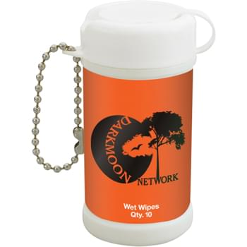 Pocket Size Wet Wipe Canister - Bead Chain Attachment | Meets FDA Requirements | Contains 10 Wipes
