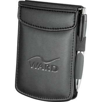 "Milano Pocket Jotter - Business card pockets. Pen loop. Includes 3"" x 4.75"" writing pad."