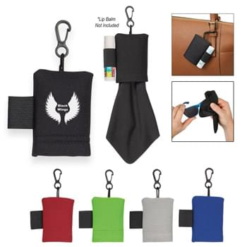 "Lip Balm Holder With Microfiber Cloth - CLOSEOUT! Please call to confirm inventory available prior to placing your order!<br />Neoprene Pouch With Carabiner Clip | Elastic Loop On Side For Lip Balm | 5"" Microfiber Cloth Inside Pouch 