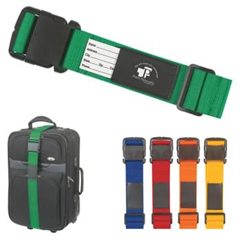 "Luggage Strap/Bag Identifier - CLOSEOUT! Please call to confirm inventory available prior to placing your order!<br />Leather Look ID Card Pocket | Easy To Identify Luggage | Plastic Buckle | Expands from 40"" to 71"""