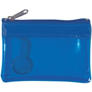 Translucent Zippered Coin Pouch - Split Ring Inside