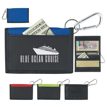 Wallet With Carabiner - Hook And Loop Closure | Inside Clear ID Window | Inside Pocket And Zippered Pocket | Outside Front Pocket