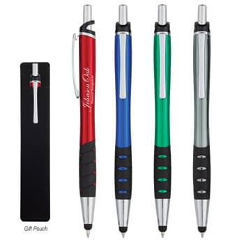 Prestige Stylus Pen - Plunger Action | UV Coated Aluminum Pen | Push Down To Use Pen And Retract To Use Stylus | Rubber Grip For Writing Comfort And Control