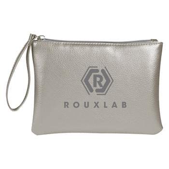 Metallic Divine Cosmetic Bag - Made Of Metallic Polyurethane | Zippered Compartment | Wrist Strap | Spot Clean/Airy Dry