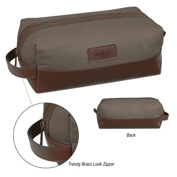 Safari Vanity Bag - Made Of 12 Oz. Cotton Canvas, Polyurethane And 210D Polyester Lining   | Zippered Main Compartment   | Leatherette Trim And Carrying Handle   | Front Leatherette Patch   | Spot Clean/Air Dry