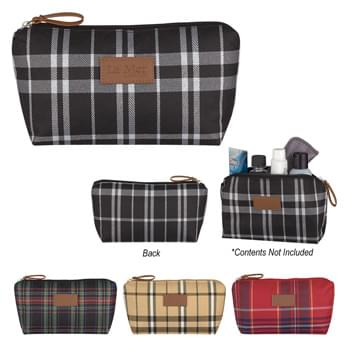 Soho Cosmetic Bag - Made Of Polyester Twill | Zippered Main Compartment | Leatherette Front Patch And Zipper Pull | Spot Clean/Air Dry