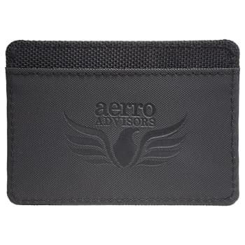 Elleven RFID Card Wallet - Travel made smarter! This slim design wallet is perfect for every day carry or as an additional feature to Travel Wallet 9555-02. The middle pocket offers RFID protection. One exterior pocket has a clear vinyl window for an ID.