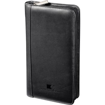 Millennium Leather Travel Wallet - Zippered closure. Pockets for passport, tickets & travel documents. Card and currency pockets. Pen loop.