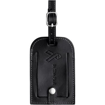 Millennium Leather Identification Tag - Holds a standard business card. Adjustable metal buckle. Flap cover with snap.