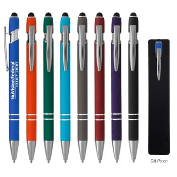 Incline Stylus Pen - Plunger Action   | Rubberized Aluminum Pen   | Stylus On Top
